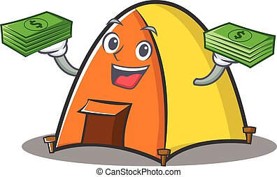 With money tent character cartoon style