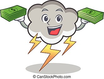 With money thunder cloud character cartoon