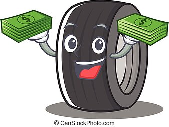 With money tire character cartoon style