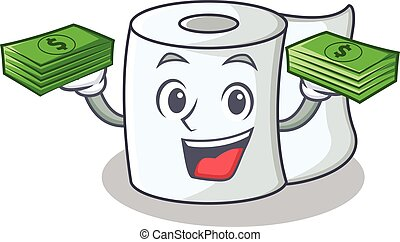 With money tissue character cartoon style