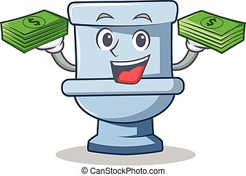 With money toilet character cartoon style