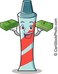 With money toothpaste character cartoon style