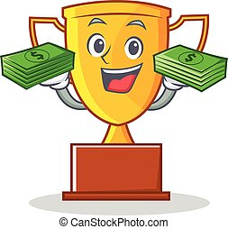 With money trophy character cartoon style
