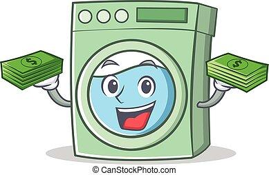 With money washing machine character cartoon vector...