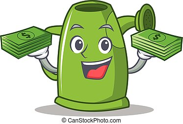 With money watering can character cartoon