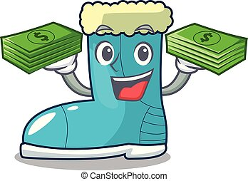 With money winter boot on the character rak vector ...