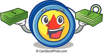 With money yoyo mascot cartoon style vector illustration