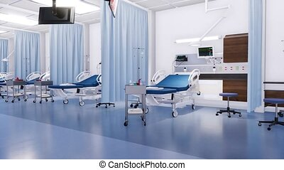 With no people hospital beds in emergency room 3D