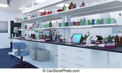 With no people interior of scientific research lab with microscopes, glass test tubes, flasks and other laboratory equipment on racks and workplace table. Modern medical science concept 3D animation.