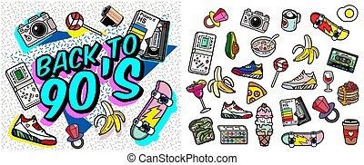 with old-fashioned retro stuff with a game, vhs cassette, skate, stick candy, sneakers and an old audio cassette. items on the theme of nastalgia 90s-80s.