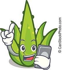 With phone aloevera character cartoon style
