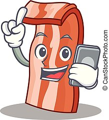 With phone bacon character cartoon style vector illustration