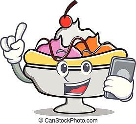 With phone banana split character cartoon vector...