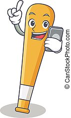 With phone baseball bat character cartoon