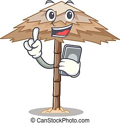 With phone beach shelter buildings with palm cartoon vector...