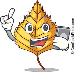 With phone birch leaf in the mascot shape vector...