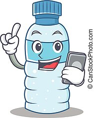 With phone bottle character cartoon style