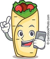 With phone burrito character cartoon style