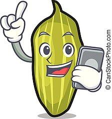 With phone cardamom character cartoon style
