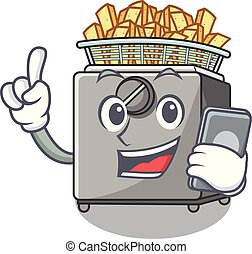 With phone cartoon deep fryer in the kitchen vector...