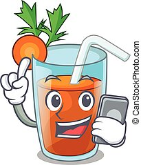 With phone character healthy carrot smoothie for diet