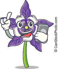 With phone columbine flower character cartoon vector ...