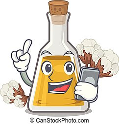 With phone cottonseed oil in a mascot bottle vector ...