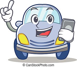 With phone cute car character cartoon vector illustration