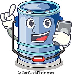 With phone cylinder bucket Cartoon of for liquid