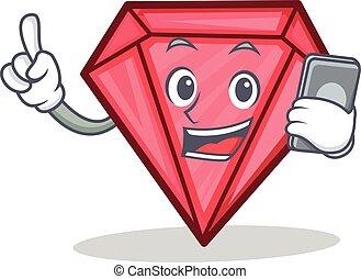 With phone diamond character cartoon style