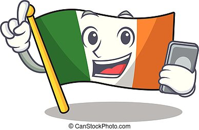 With phone flag ireland isolated with the cartoon vector ...