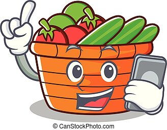 With phone fruit basket character cartoon
