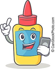With phone glue bottle character cartoon