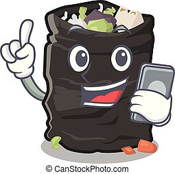With phone grabage bag isolated with the mascot vector illustration