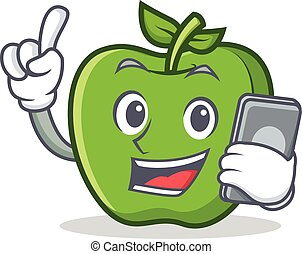 With phone green apple character cartoon