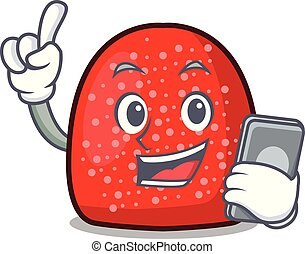 With phone gumdrop character cartoon style