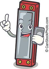 With phone harmonica character cartoon style