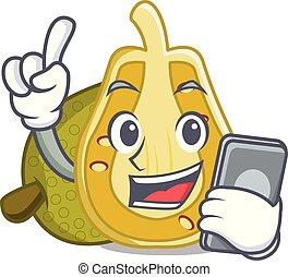 With phone jackfruit character cartoon style vector...