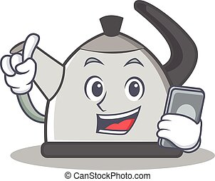 With phone kettle character cartoon style vector...