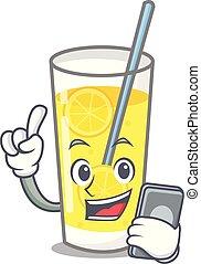 With phone lemonade character cartoon style