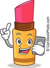 With phone lipstick character cartoon style