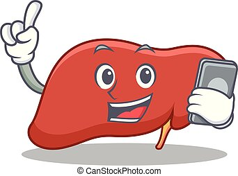 With phone liver character cartoon style