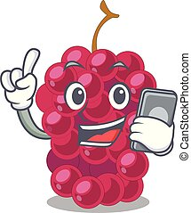 With phone mulberry fruit on a cartoon table vector...
