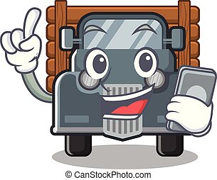 With phone old truck isolated in the cartoon