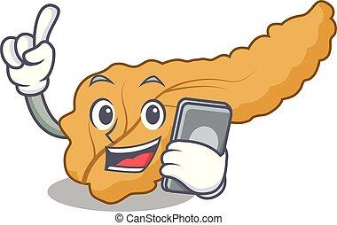 With phone pancreas character cartoon style