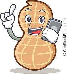 With phone peanut character cartoon style