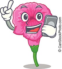 With phone petunia flowers on cartoon home page vector illustration