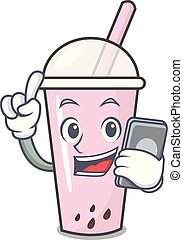 With phone raspberry bubble tea character cartoon