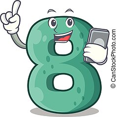 With phone raster version cartoon shaped Number Eight
