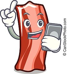 With phone ribs character cartoon style vector illustration